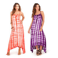Pistachio Womens Hand Printed Tie Dye Beach Dress New Ladies Strappy Summer Maxi