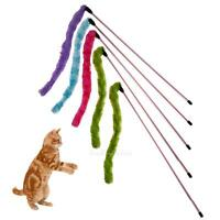 5pc Cat Kitten Pet Teaser Plush Interactive Stick Toy Wire Chaser Wand With Bell
