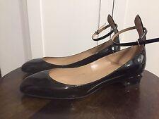 Valentino Tango Heel Kitten Pump Black Patent 38.5 8.5 Ankle Strap
