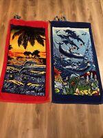 Vintage  Beach Wave Towels Dolphins Set Of 2 Red Blue Pocket