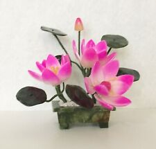 1 pc of Handcrafted Jade and Glass Lotus Flower Basket Artificial Bonsai Plant