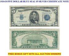 1934-D FIVE DOLLAR BLUE SEAL $5 SILVER CERTIFICATE NOTE
