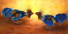 """Art by Daysi. """"Rooster Fighting"""" Oil painting 30""""x 12"""" Signed by Artist."""