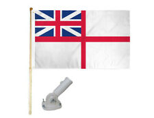 New listing 5' Wood Flag Pole Kit W/ Nylon White Bracket 3x5 Uk White Ensign Polyester Flag