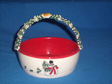 Fitz and Floyd Holiday Home Snowman Basket Handle 2007