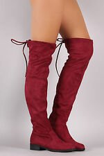 New Women Drawstring Tie Lace Up Over The Knee Riding Boot Low Flat Heel Pull On