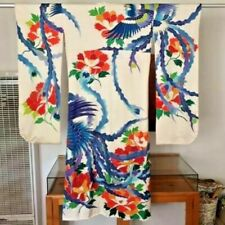 Stunning Blue Phoenix on Off White Furisode Kimono