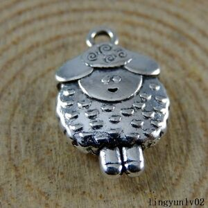Antique Silver Alloy Cute Mini Sheep Charms Pendants Crafts Findings 30x 50939