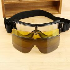 Tactical 3 Lens Uv-400 Protection USMC Rifle X800 Goggle Safety Glasses Gx1000