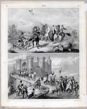 Falknerei-Falkner-Jagd-Hawking-Ritter-Burg Stahlstich 1851