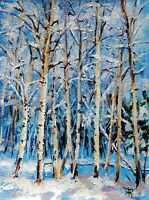 YARY DLUHOS ORIGINAL ART OIL PAINTING Winter Aspen Trees Snow Forest Landscape