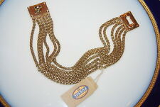FOSSIL BRAND BOLD COUTURE MULTIPLE GOLD TONED CHAINS AND KEY HOLE LOCK BRACELET