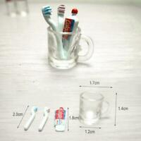 Dollhouse Miniature Bathroom Accessory Toothbrush Toothpaste Cup Glass set 1/12