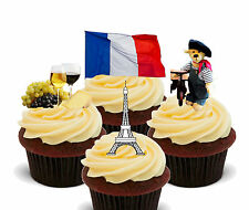 France Fun Pack, Edible Stand-up Cup Cake Toppers, Eurovision French Flag
