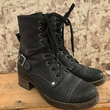 TAOS CRAVE BOOTS UK SIZE 3 WOMENS BLACK DISTRESSED NUBUCK LEATHER COMBAT BOOTS