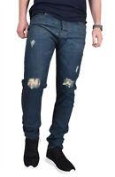 Mens Ripped Jeans Regular Fit Stretch Basic 5 Pocket Cotton Denim Distressed