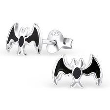 Sterling Silver 925 Black Bat Wildlife Stud Earrings