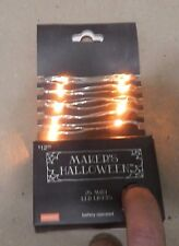 Makers Halloween 25 Orange Mini LED Lights Battery Operated 9 Ft Indoor 138P