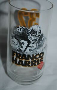 1996 Pittsburgh Steelers Hall of Fame glass Franco Harris, Eat'n Park, Coca-Cola