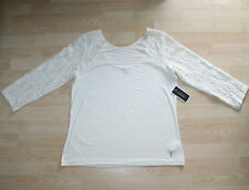 BNWT Juicy Couture Relaxed Fit Cream Jersey Top With lace Sleeves Sz XL UK 16-18