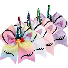 Cute Unicorn Horn Sequin Large Bows Kids Girls Glitter Rubber Hair Band Tie Rope
