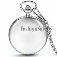 Smooth Half Hunter Mechanical Hand Wind Roman Dial Necklace Charm Pocket Watch