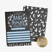 25 Baby Shower Invitations Boy with Envelopes Blue Handlettered Chalkboard