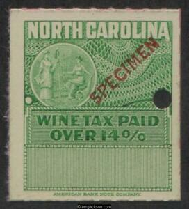 NORTH CAROLINA Wine Revenue NC W37Sa red SPECIMEN overprint, security punch, VF