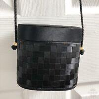 La Regale Evening Bag Small Oval Box Satin Black Basketweave Purse Handbag