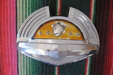 1950 MERCURY TRUNK  PLASTIC EMBLEM & BEZEL CHROME TRIM MOULDING DECK LID BADGE