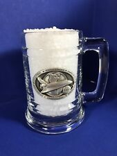 NASA Space Shuttle Glass Mug Pewter Logo Challenger Columbia Enterprise Atlantis