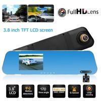 3.8'' Car DVR Full HD 1080P Dual Lens Mirror Rearview Camera Recorder Dash Cam