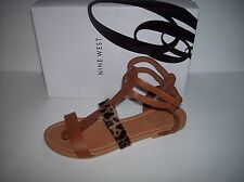 New NINE WEST ITALY BROWN CAMEL LEATHER GLADIATOR FLAT SANDALS US SZ 9M / EUR40