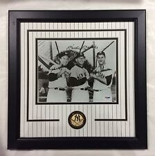 Mickey Mantle Hank Bauer Moose Skowron signed framed 8x10 with PSA Cert