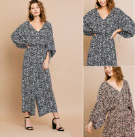 UMGEE Boutique Jumpsuit Animal Print Kimono Sleeve V-Neck Wide Leg Palazzo Boho