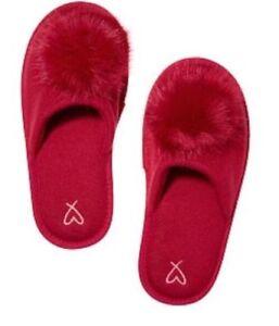Victoria's Secret Red Pom Pom Slippers M Medium 7-8 Limited Edition Slides New