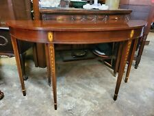 Councill Craftsmen Demilune Half Round Banded Mahogany Console Entry Hall Table