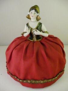 Antique Porcelain Half-Doll ROYAL RUDOLSTADT NETHERLANDS sewing dresser basket