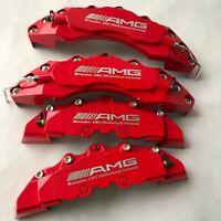 "Engineering Plastic Red AMG Brake Caliper Covers SR Logo 11""F 9""R Universal Fit"