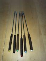 Vtg Set of 6 Mid Century Fondue Forks Teak Wood Handles INOX ROSTERI-long prong