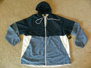 Athletic mens 2XL (50-52) two tone blue & white windbreaker w/hood