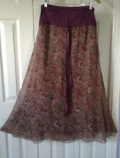 SOFT SURROUNDINGS Lined 100% Silk Floral Brocade Full Maxi Skirt ~ Size 10