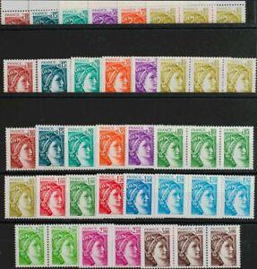 Francia. MNH Yv 1962/79 (9) .1977. Nine Series Completas. No Band Of Fosfor