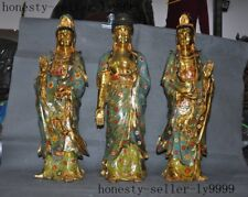 China bronze Cloisonne 24k gold Gilt Buddhism Three Sanctuary of the West Statue