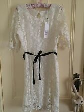 Khoko cream floral dress with black belt size 14