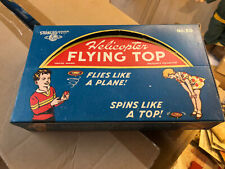 RARE VINTAGE W. GERMANY STRAUSS TIN HELICOPTER FLYING TOP NO. 50 W/BOX+ WORKING!