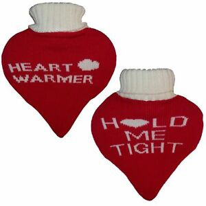 Heart Shaped Red Hot Water Bottle with Knitted Cover  (Message Vary)