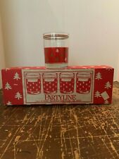 Vintage LE Smith Partyline Christmas Tree 14 Ounce Tumbler Set of 4 With Box