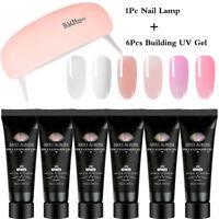 MEET ACROSS Quick Building Extension Poly UV Gel Nail Lamp Kits Soak Off Varnish