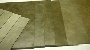 """Large Leather distress panels 8 Pieces 10.25"""" x 24"""" first Quality. Medium moss"""